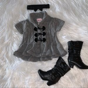 Little Lass Sparkly Toggle Button Sweater 12M